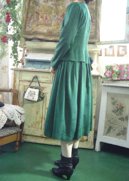 Gone with the Wind`s scarlet  darkgreen vintage dress(USA)