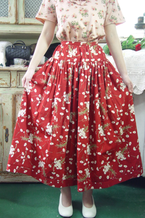 romantic deep red  Pink  House  skirt