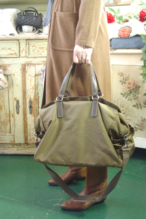 khaki  vintage fabric  bag