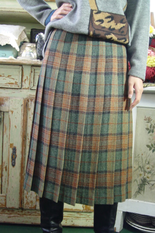 green check pleats wool SKIRT