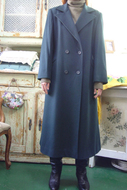 vintage  Cashmere  bluegreen  double   coat