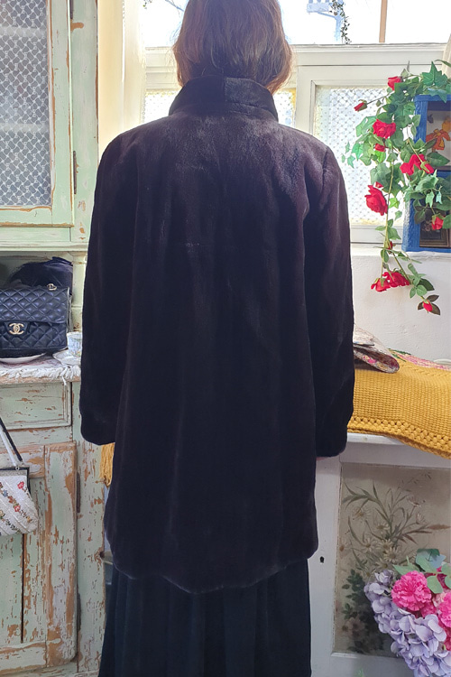 vintage classic sheared SAGA mink coat  (Dark brown )
