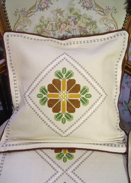 vintage  needlepoint  flower  cushion covers (2EA)