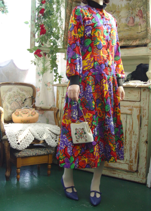 gorgeous floral  Special  vintage silk  dress (USA)