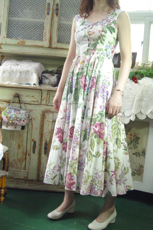 romantic vintage  cotton dress (USA)