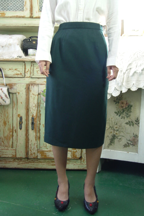 darkgreen  classic  wool  Skirt (sanyo)