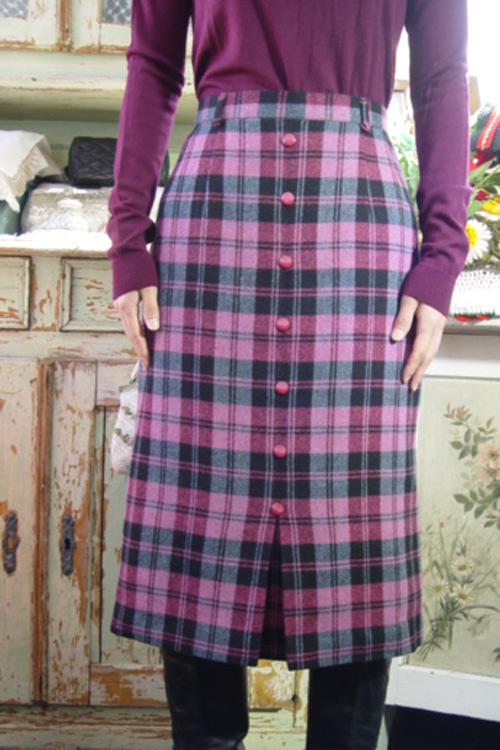 pink check wool vintage skirt