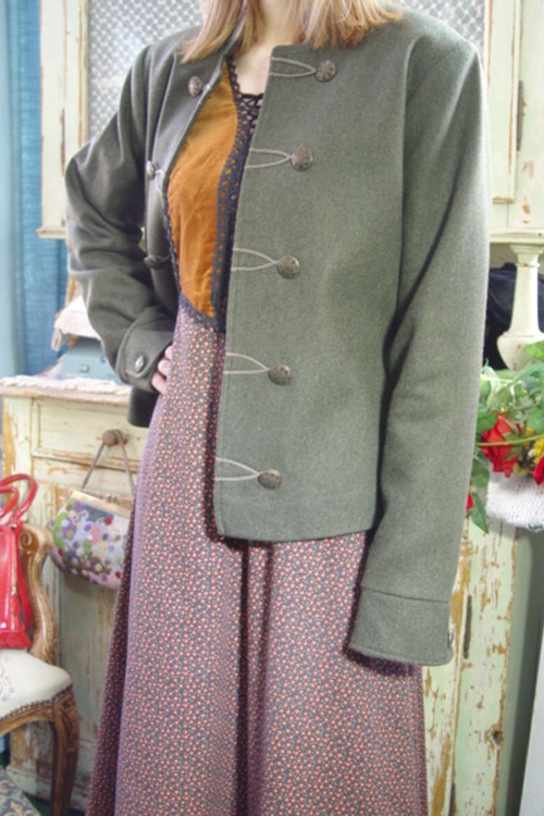 antique khaki  highquality   wool jacket  (europe )