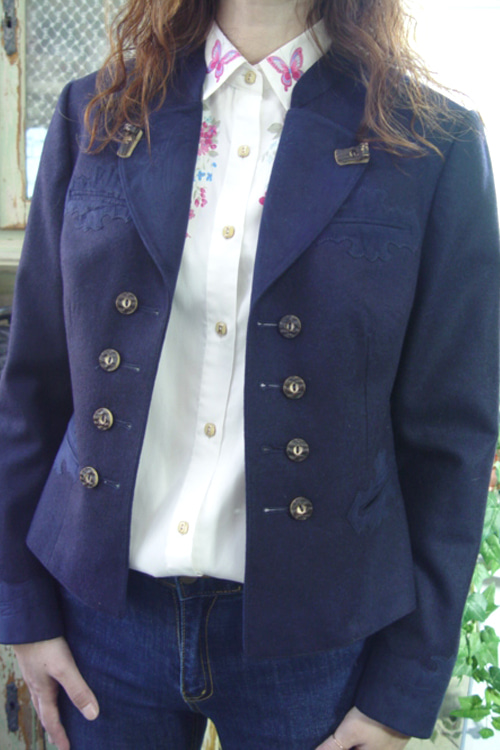 antique  navy  wool  jacket  velvet  point (europe)
