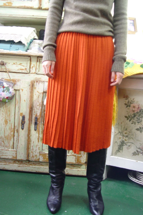 vintage magic pleats knit wool SKIRT (orange)