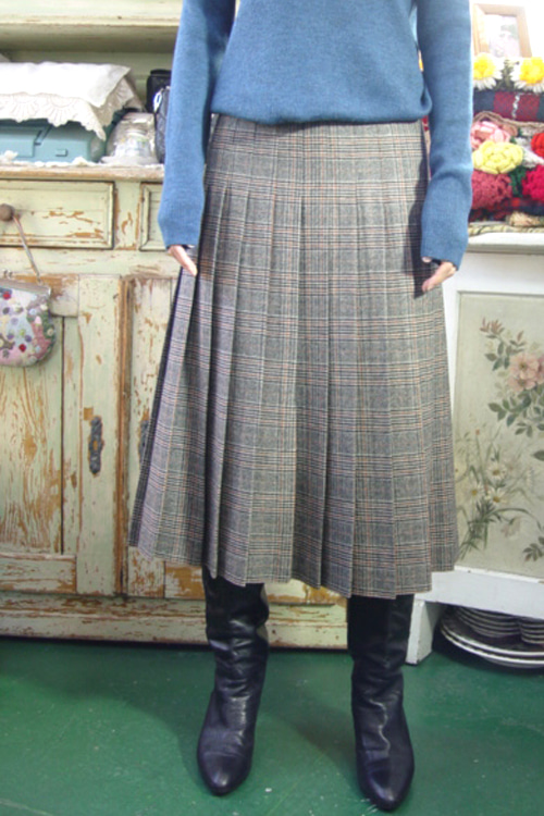 classic  check  vintage Wool pleats  skirt  (gray)
