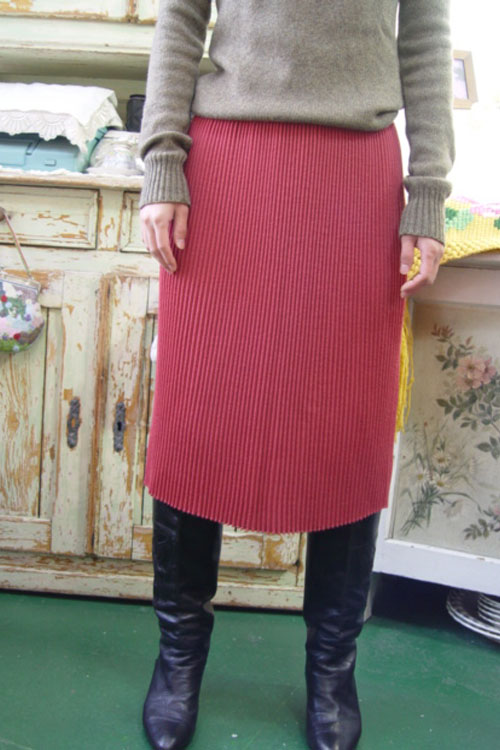 vintage magic pleats wool  knit skirt (pink)
