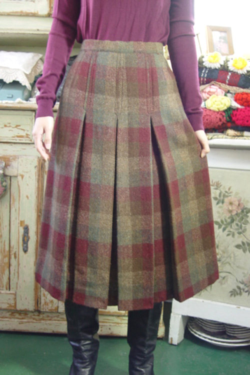 check vintage Wool  skirt