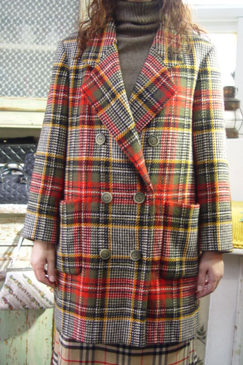 vintage  tartan wool  check  jacket