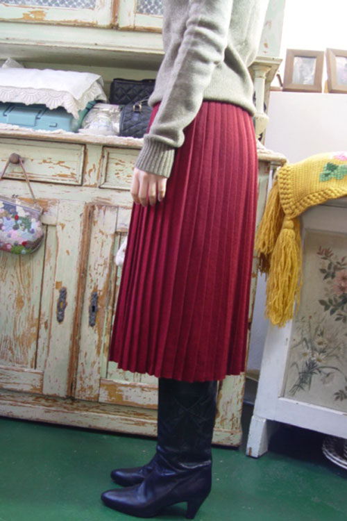 vintage magic pleats  knit  wool SKIRT (burgundy )