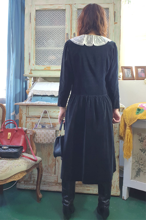 vintage black  velvat  lace dress