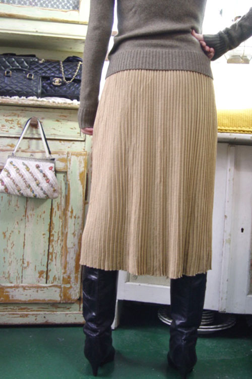 vintage magic pleats knit wool SKIRT (beige )