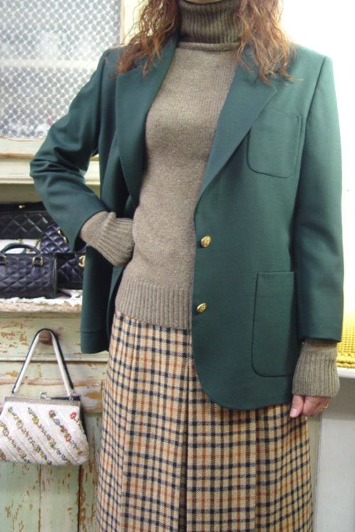 vintage wool darkgreen jacket