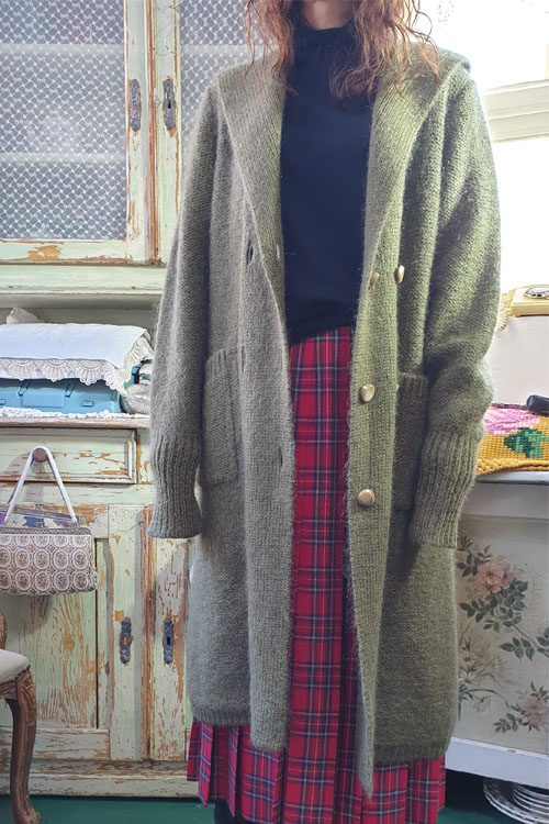 khaki mohair vintage handmade sailor  knit coat