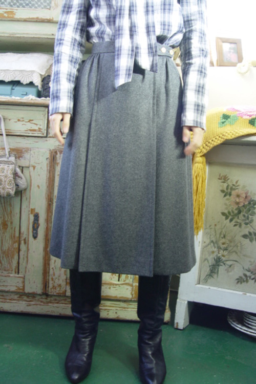 vintage gray  wool skirt