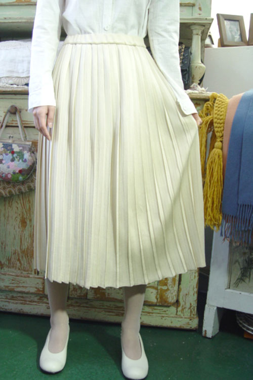 vintage magic pleats knit wool SKIRT (L)