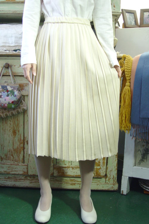 vintage magic pleats knit wool SKIRT (M)