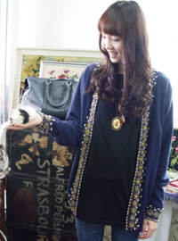 Antique Navy Beads Cardigan