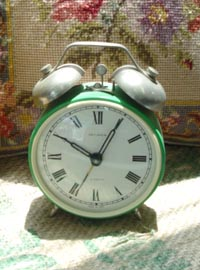 vintage green table clock
