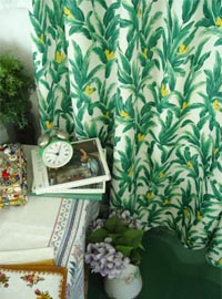vintage Romantic tropical  green Curtain