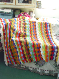 vintage fantastic   colourful  fringe  Hand blanket (USA)