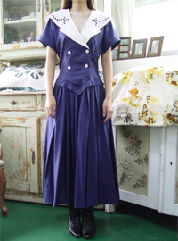 Linen  antique Navy sailor dress (USA)