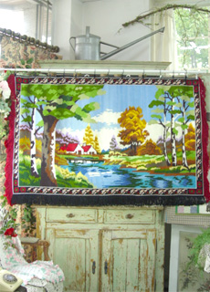 romantic  fringe big  needlepoint  hanging (JAPAN)